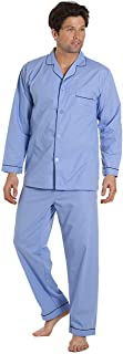 Haigman Nightwear Mens Sky Blue Long Sleeve Pyjama Set Suit with Trousers