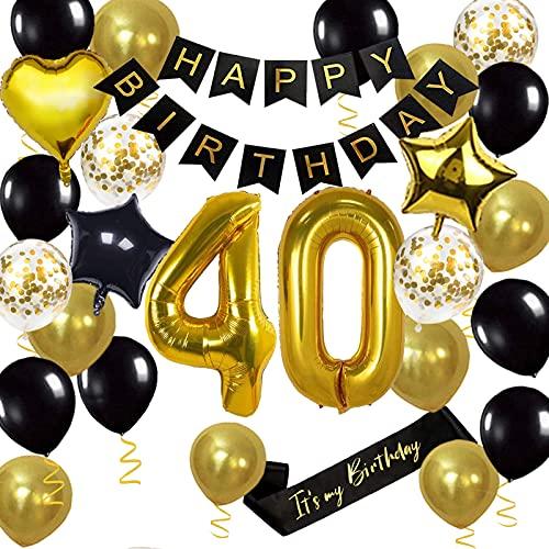 Decoraciones de fiesta de cumpleaños con número 40, globo de aluminio Jumbo número 40, para 40 cumpleaños, decoración para tartas, color negro y dorado