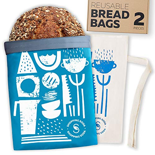 Reusable Bread Bags Zero Waste - 2 Bread Storage Containers For Homemade Bread Loaf, Organic Cotton Bread Bags For Homemade Bread Large, Reusable Freezer Bags, Bread Box Gift For Bread Maker