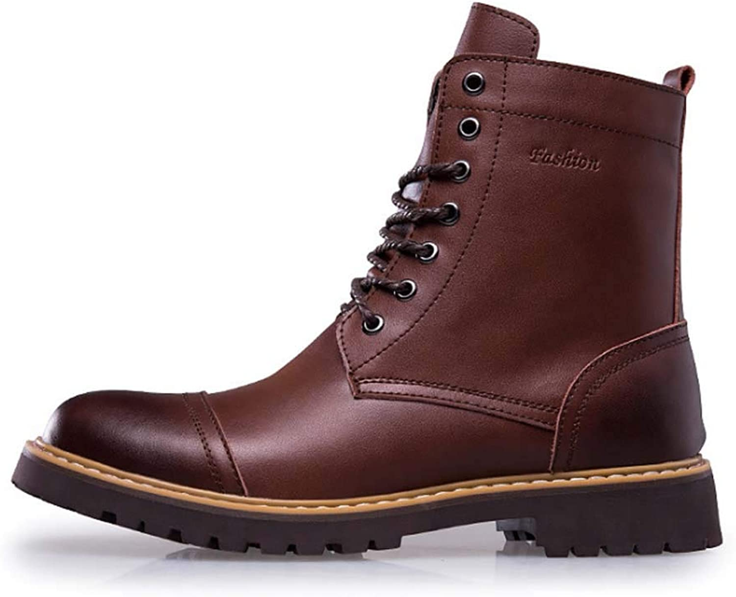 HYLFF Men Boots Leather Ankle Waterproof Casual Winter,Martin Ankle Boot Walking Work Elegant Oxford Wide Fit Dr Martin Comfortable,Brown,42EU