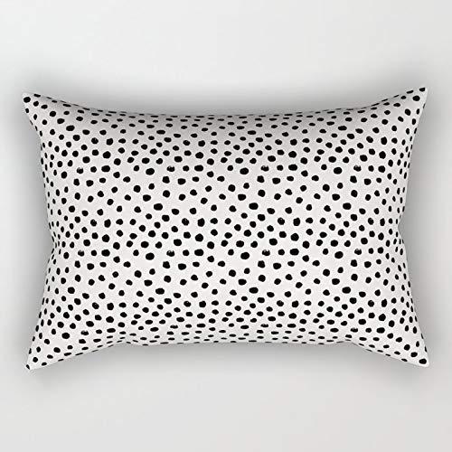 Yuanmeiju Preppy Brushstroke Free Polka Dots Black And White Spots Dots Dalmation Animal Spots Design Minimal Rectangular Pillowcase Cushion Cover 20x30 Inch