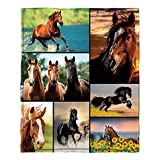 Jiunaqiw Horse Pattern Ultra-Soft Throw Blanket Cozy Flannel Plush Blanket for Sofa Bed Couch 60'X50'