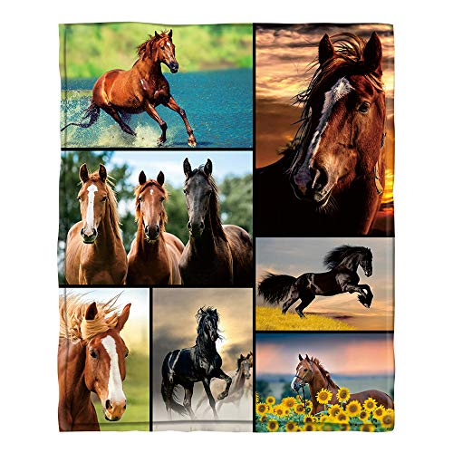 Jiunaqiw Horse Pattern Ultra-Soft Throw Blanket Cozy Flannel Plush Blanket for Sofa Bed Couch 80'X60'