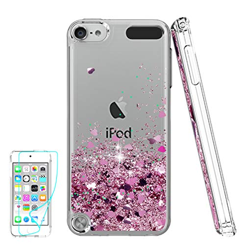 Cover iPod Touch 6th Gen Custodia Brillantini Trasparente, Glitter Morbido Cover per Italia Apple Touch 5th /6th Generation Telefonino Donna Rose Gold