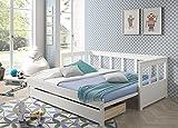 Vipack Auszug und Einer Liegefläche 90 x 200, erweiterbar auf 180 x 200 cm, Bettschublade inklusive Funktionsbett, Holz, weiß, 100 x 208 x 80 cm - 6