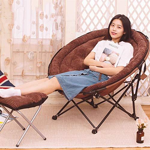 Loisir Chaise camping Lune Inclinable Pliable Coussin détachable pour plein air Activités 130 kg charge maximale (Couleur : Brown plus stool)