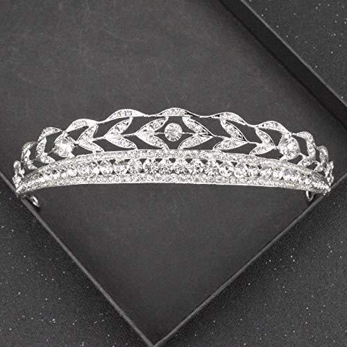 LLCUTE Tiara Corona,Oro Coreano Y Plata Diamante De Imitación Corona De Boda...