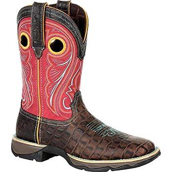 Durango Women s Lady Rebel Faux Gator Western Boot Square Toe Red/Brown 8.5 M