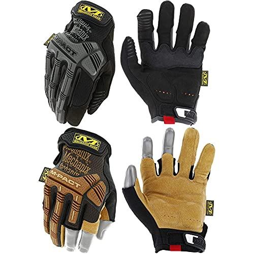 Mechanix Wear: M-Pact Tactical Work Gloves (Medium, Black) + Mechanix Wear: M-Pact Leather Framer Work Gloves (Medium, Brown/Black)