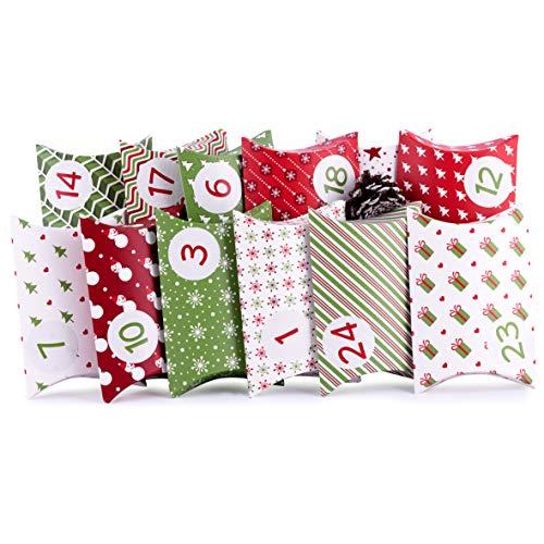 Adventskalender zum Befüllen Pillow Green 24 Geschenkboxen Schachteln Weihnachten, Weihnachtskalender DIY Bastelset inkl. Adventszahlen Aufkleber von pajoma