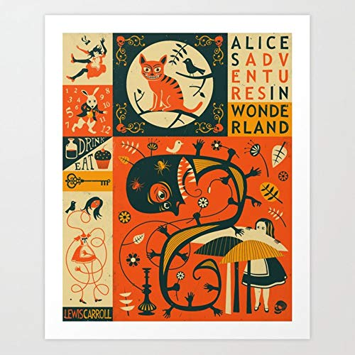 Rare Pôster artístico de Alice's Adventures in Wonderland por Jazzberry Blue 61 cm x 76 cm Reimpressão de Lewis Carroll