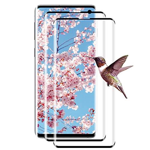 [2 unidades] Protector de pantalla de cristal templado para Samsung Galaxy S10, protector de pantalla 3D, cobertura completa, antiarañazos, soporte para sensor de huellas dactilares (negro)