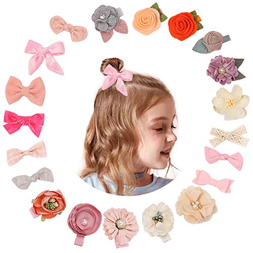 Baby Girl Hair Clips Bows Flowers Fully Lined Alligator Barrettes Toddler Hair Clips pack of 20
