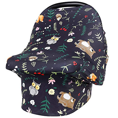 Car Seat Covers for Babies Nursing Cover for Breastfeeding Stretchy Soft Breathable Infant Carseat Canopy Breastfeeding Cover Multi-Use High Chair Cover Baby Shower Gifts (Owl)