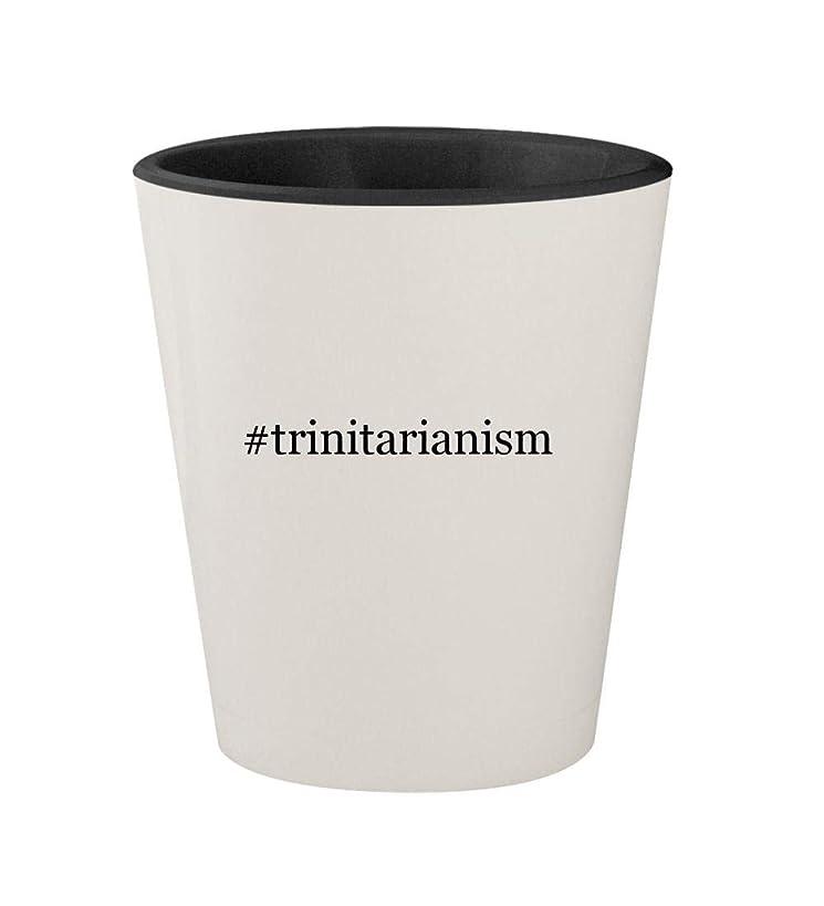 #trinitarianism - Ceramic Hashtag White Outer & Black Inner 1.5oz Shot Glass