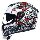 ZLYJ Bluetooth Full Face Motorcycle Helmet,with Dual Visors DOT Certification Motorcross Helmets Built-in Speaker...