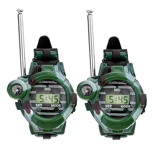 Naicasy Reloj walkie talkies para los niños de Largo Alcance Radio de Dos vías del ejército del Aire Libre Juguetes 150m Verde 2 PCS