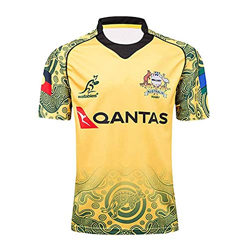 YINTE 17-18 Australien Weltmeisterschaft Rugby-Trikot, Gedenkausgabe Rugby Kurzarm Pro Jersey Baumwolljersey Grafik T-Shirt Unterstützer Fußball Sport Top, Bestes Geburtst L