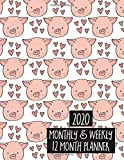 2020 Monthly & Weekly 12 Month Planner: Agenda Calendar for Jan 2020 to Dec 2020 - Cute Pigs Pattern