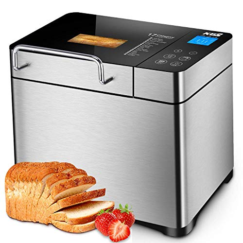 KBS Pro Stainless Steel Bread Machine, 2LB 17-in-1 Programmable XL Bread Maker with Fruit Nut Dispenser, Nonstick Ceramic Pan& Digital Touch Panel, 3 Loaf Sizes 3 Crust Colors, Reserve& Keep Warm Set (Renewed)
