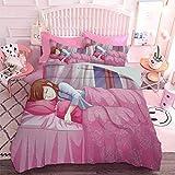 Hiiiman Juego de cama de 3 piezas con ilustración de dibujos animados de una niña durmiendo cultura japonesa estilo manga impresión artística (3 piezas, tamaño King) sin inserto