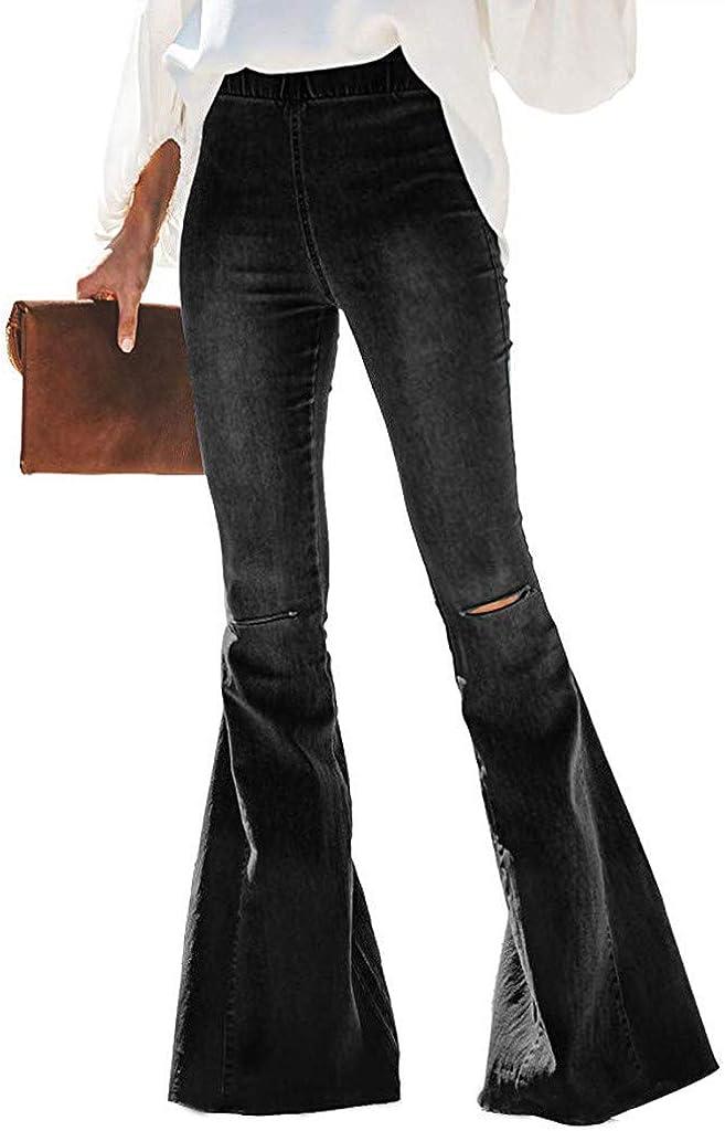 WUAI-Women Juniors High Waist Strentch Bell Bottom Flare Jeans Wide Leg Denim Pants
