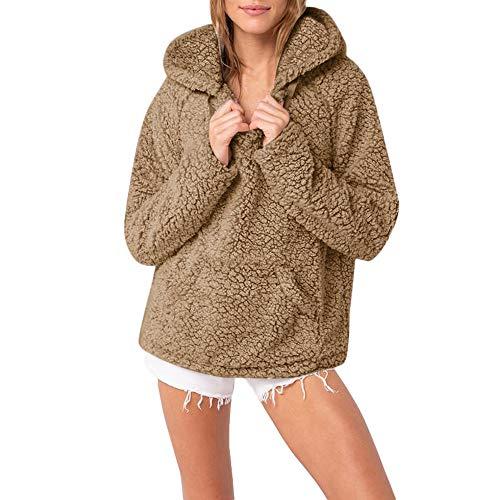OSYARD Damen Plüsch Sweater Sweatshirt Pullover mit Kapuze, Frauen Kapuzenpullover Beiläufige Locker Oberseiten Parka Outwear Cardigan Blusen Strickjacke Hoodie Strickpullover mit Tasche(XL, Khaki)