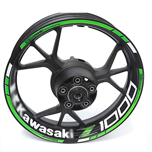 Para kawasaki z1000 z 1000 motocicleta rueda reflectante llanta raya calcomanía pegatina frontal decalado trasero conjunto completo (Color : 20)