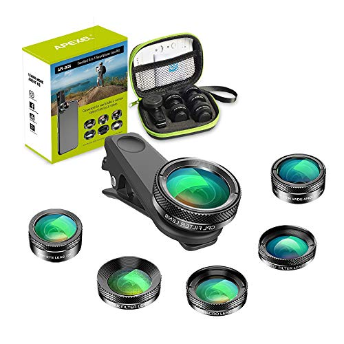 Apexel 6-in-1 Handy-Kamera-Objektiv-Set, Weitwinkelobjektiv + Makro-Objektiv + Fischaugen-Objektiv + ND-Filter + CPL/Stern-Filter-Clip-On Handy für iPhone 8/x 7/Plus, Samsung S8 Android-Smartphones