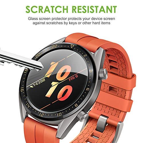 apiker [4 Stück] Schutzfolie für Huawei Watch GT Classic und GT Active, Huawei Watch gt Ative Panzerglas mit 9H-Härte, Kratzfest, blasenfrei, hohe Definition, hohe Empfindlichkeit - 4