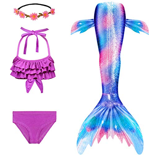 Mermaid Tails for Swimming Girls Swimsuit Princess Bathing Suit Bikini Set