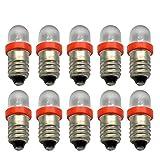 Ruiandsion 10pcs LED Flashlight Bulbs 12V E10 LED Bulb Mini Lamps White/Blue/Red/Green/Yellow E10 Base Socket LED Bulb (Red)