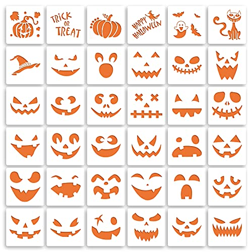 36 Pieces Halloween Drawing Stencils, 6 Inch Plastic Reusable Pumpkin Faces Painting Stencil for DIY Pumpkin Carving, Wood, Walls Art and Halloween Decoration