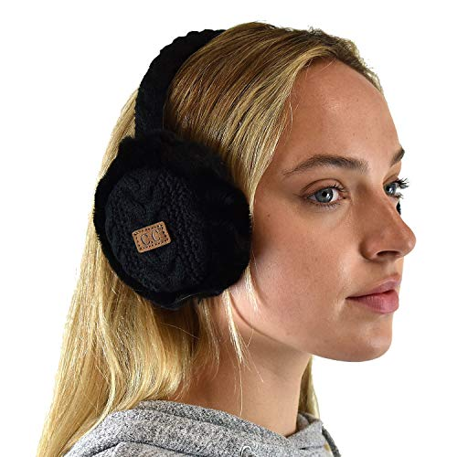 C.C Soft Winter Warm Adjustable Headband Ear Warmer Earmuffs, Black