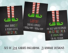 Elf, Christmas Cards, Chalkboard Elf, Happy Christmas, Red, Green, Stripes, Elf Based Christmas Cards, 24 Pack Assorted Elf Christmas Cards with White Envelopes