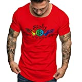 Mens Casual Slim Fit Short Sleeve T-Shirts Ultra Soft Cotton Print Floral Pattern Sport Classic Graphic Tees (XXL, Red)