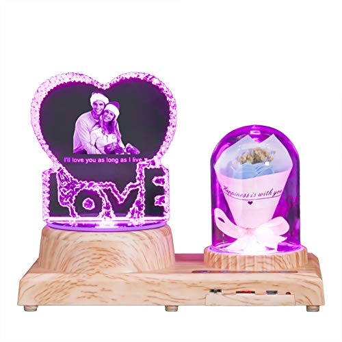 LovE & Rose Crystal Light Lámpara de foto personalizada Luz de música Bluetooth Luz de foto 3D Grabada Luz de aniversario(LovE Blue Rose)