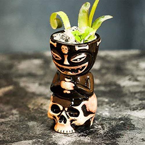 Tiki Tazas para ccteles, vasos de cermica tiki novedosos vasos de cermica con temtica hawaiana para ccteles y fiestas de Luau, ideal para el hogar (450 ml)
