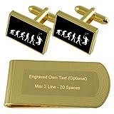 Select Gifts Evoluzione di Ape per uomo Sport Badminton Gold-tone gemelli denaro inciso Clip Set regalo