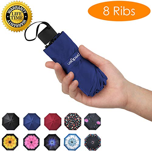 Prodigen Travel Mini Umbrella Windproof UV Folding Compact Umbrella Portable Lightweight Sun