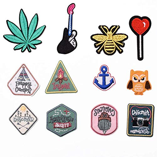 Riao-Tech 15 pc. Rock Roll Punk Band Patch Set Iron on Sew on Patches
