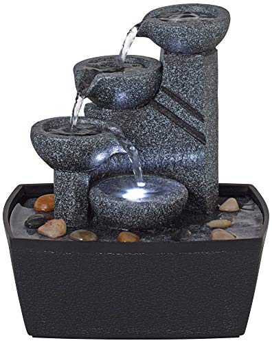 John Timberland Rowell Tabletop Water Fountain with LED Light 7 1/2' High Bowls for Indoor Table Desk