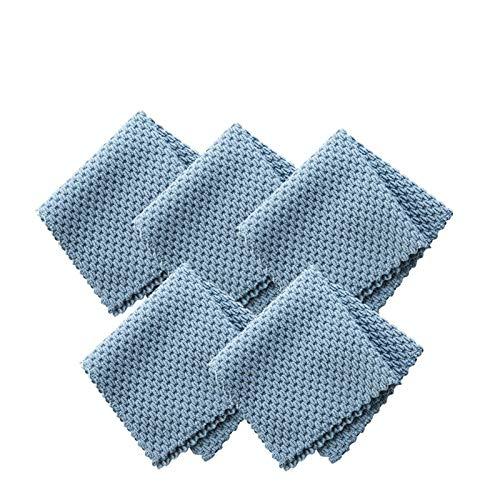 MISDD 5 unids Tela de Limpieza de Microfibra eficiente de la Cocina Anti-Grasa Limpieza del Trapo Super Absorbente Hogar Lavado Plato Cocina Limpieza Toalla (Color : 5PCS Blue)