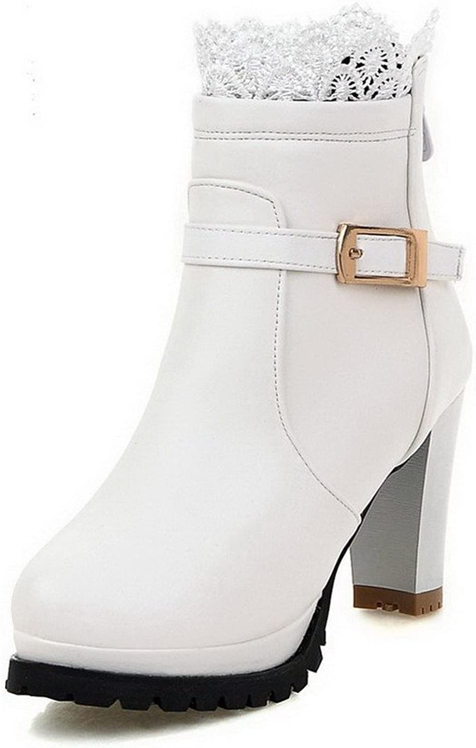 AllhqFashion Women's Zipper High-Heels PU Solid Low-top Boots
