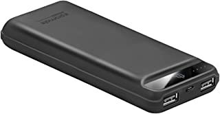 Promate Travel Charger, High Capacity 20000mAh Power Bank with High Speed Charging Dual USB Port and Over Heat Protection for iPhone X, 8, 8 Plus, HTC U11, OnePlus 5, Samsung Note 8, iPad, iPod, Quantum-20 Black