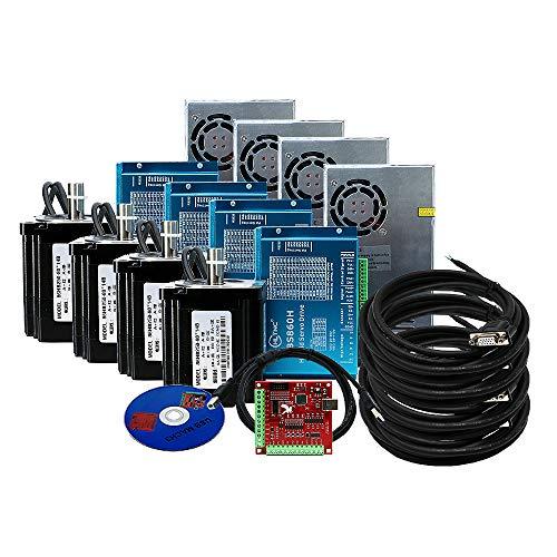 4 Kit CNC 12Nm NEMA34 Motor de bucle cerrado 86HSE 6A Nema híbrido 34 HBS86H y 400W DC Fuente de alimentación+4 ejes MACH3 USB placa de interfaz