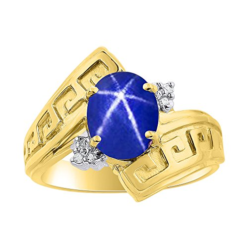 Juego de anillos de zafiro de estrella azul y diamante en oro amarillo de 14 quilates – diseño de llave griega – piedra de color piedra de nacimiento anillo