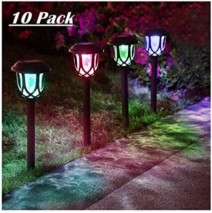 ExcMark 10 Pack Color Changing Solar Lights Outdoor Decorative Solar Pathway Lights Solar Powered product image