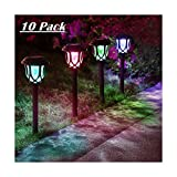 ExcMark 10 Pack Color Changing Solar Lights Outdoor Decorative, Solar Pathway Lights, Solar Powered Garden Yard Lights for Christmas Walkway Sidewalk Driveway.