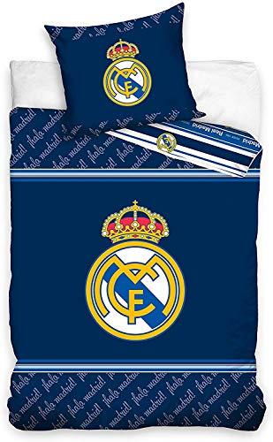 Juego de Cama Real Madrid Blancos Funda nórdica y Funda de Almohada de algodón 135 x 200cm + Funda de Almohada 50 x 75cm